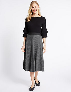 Cotton Rich Ribbed A-Line Midi Skirt, CHARCOAL MIX, catlanding