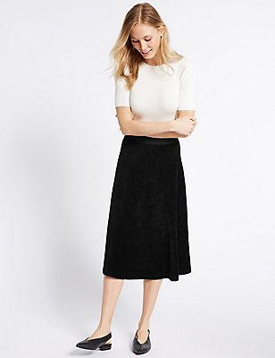 Cotton Rich Cord Flippy A-Line Midi Skirt, BLACK, catlanding