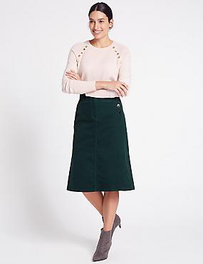 Cotton Rich Cord A-Line Midi Skirt, PETROL GREEN, catlanding