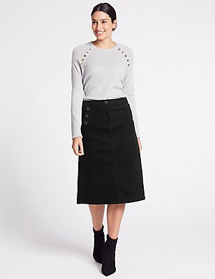 Cotton Rich Cord A-Line Skirt, BLACK, catlanding