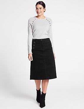 Cotton Rich Cord A-Line Midi Skirt, BLACK, catlanding