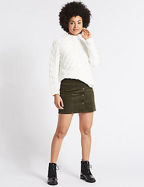 Cotton Rich Cord A-Line Mini Skirt, KHAKI, catlanding