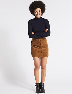 Cotton Rich Cord A-Line Mini Skirt, MEDIUM BROWN, catlanding