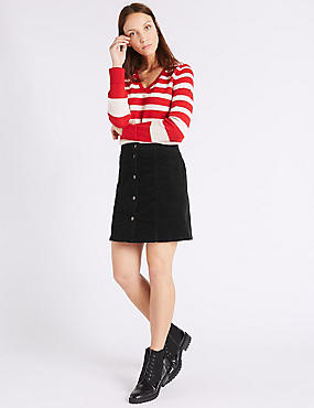 Cotton Rich Cord A-Line Mini Skirt, BLACK, catlanding