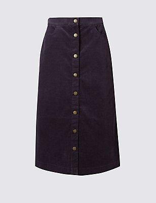 Cotton Rich A-Line Midi Skirt, NAVY, catlanding