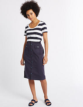 Sateen Pocket Detail Midi Skirt, NAVY, catlanding