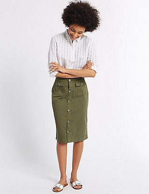 Sateen Pocket Detail Midi Skirt, KHAKI, catlanding