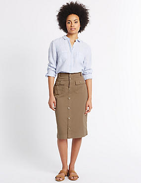 Sateen Pocket Detail Midi Skirt, CAMEL, catlanding