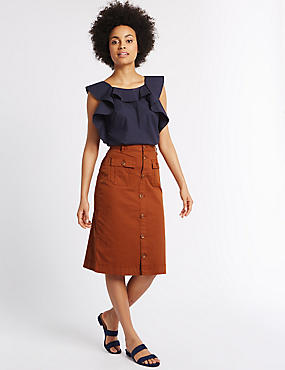 Sateen Pocket Detail Midi Skirt, RUST, catlanding