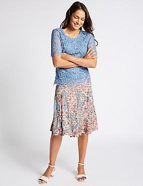 Cotton Rich Floral Print A-Line Midi Skirt, PINK MIX, catlanding