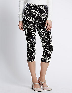 Cotton Rich Leaf Print Cropped Trousers