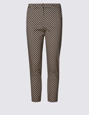 Хлопковые брюки 7/8 с геометрическим ретро-принтом