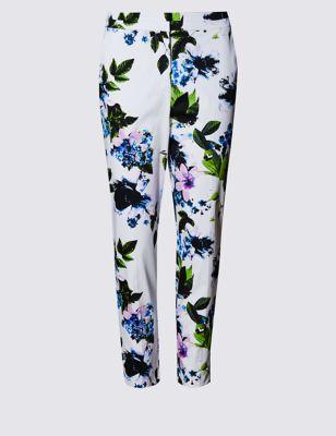 Хлопковые брюки 7/8 с цветочным принтом