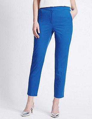 Cotton Rich Split Waistband 7/8 Trousers, COBALT, catlanding