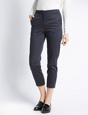 Cotton Rich Split Waistband 7/8 Trousers, NAVY, catlanding