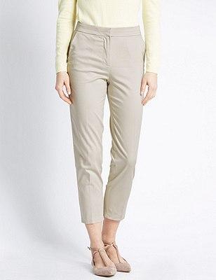 Cotton Rich Split Waistband 7/8 Trousers, STONE, catlanding
