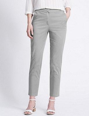 Cotton Rich Split Waistband 7/8 Trousers, GREY, catlanding