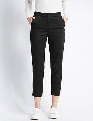 Cotton Rich Split Waistband 7/8 Trousers, BLACK, catlanding