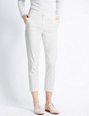 Cotton Rich Split Waistband 7/8 Trousers, WHITE, catlanding