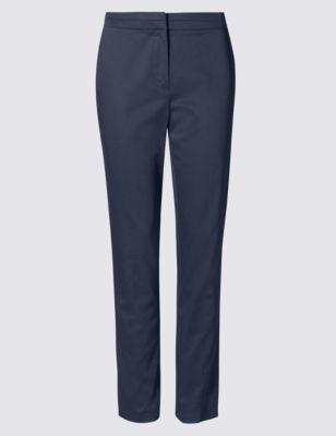 Хлопковые прямые брюки с добавлением эластана