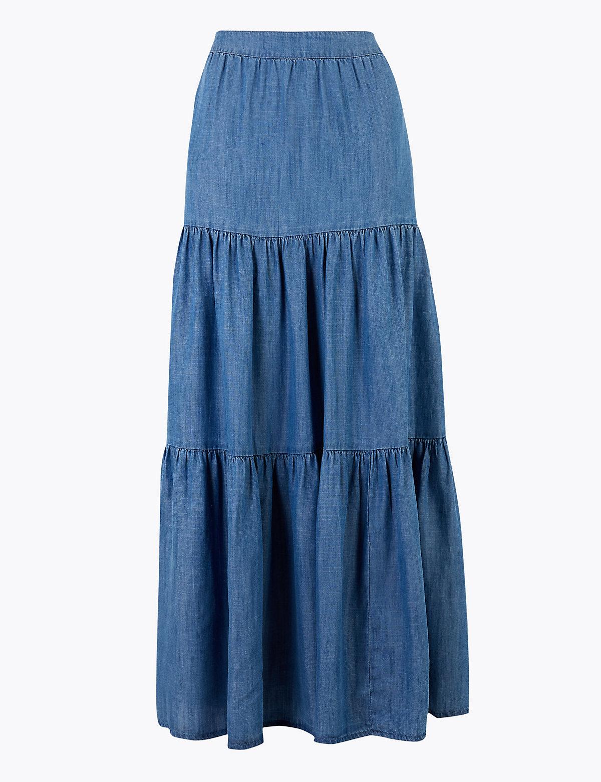 Многоуровневая плиссированная юбка-макси из ткани Tencel™