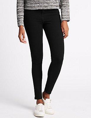 Mid Rise Super Skinny Jeans, BLACK, catlanding