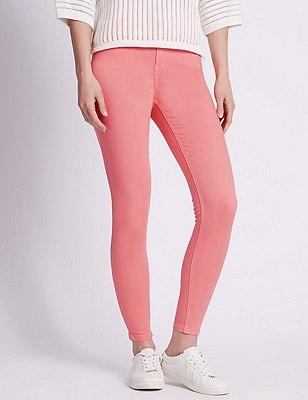 5 Pocket Super Skinny Jeans, CORAL, catlanding