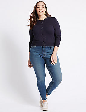 PLUS Cotton Rich Super Skinny Jeggings, MEDIUM INDIGO, catlanding