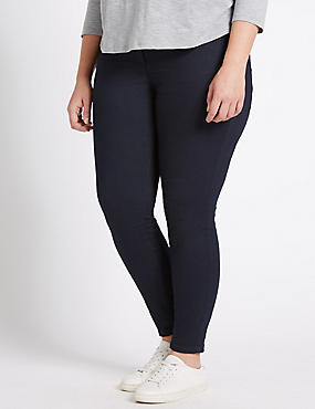 PLUS Cotton Rich Super Skinny Jeggings, INDIGO, catlanding