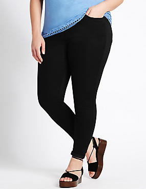 PLUS Cotton Rich Super Skinny Jeggings, BLACK, catlanding