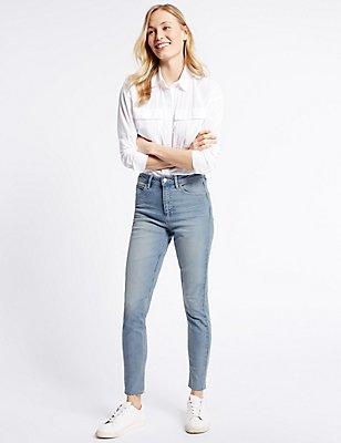 Superskinny jeans met middenhoge taille en gesneden boord, LICHTBLAUW, catlanding