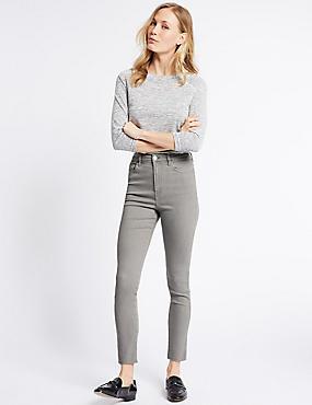 Cut Hem Mid Rise Super Skinny Jeans, LIGHT GREY, catlanding