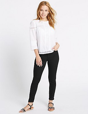 PETITE 5 Pocket Super Skinny Jeggings, BLACK, catlanding