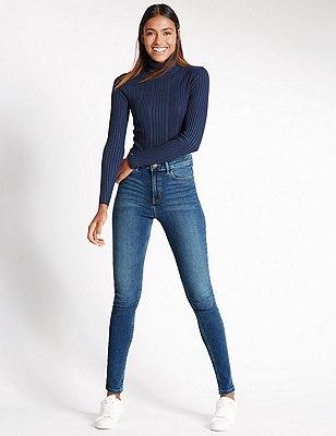 5 Pocket Super Skinny Jeans, MEDIUM INDIGO, catlanding