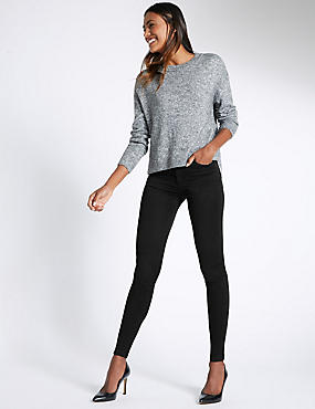 5 Pocket Mid Rise Super Skinny Jeggings, BLACK, catlanding