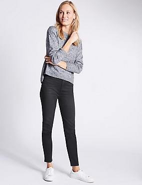 5 Pocket Mid Rise Super Skinny Jeggings, BLACK MIX, catlanding