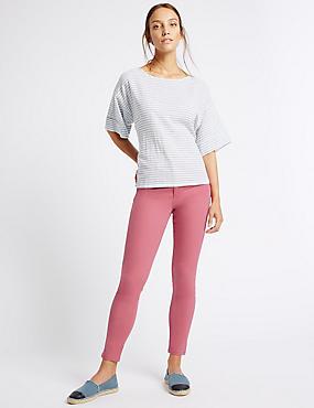 Pantacourt en jean coupe très skinny taille normale, FRAMBOISE, catlanding