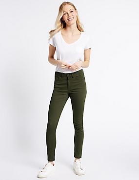 Mid Rise Super Skinny Leg Jeans, KHAKI, catlanding