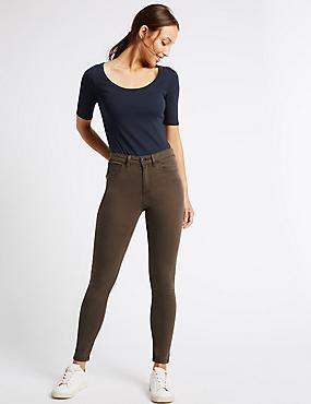 Pantacourt en jean coupe très skinny taille normale, MARRON FONCÉ, catlanding