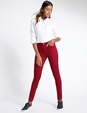 Skinny Leg Jeggings, RED, catlanding