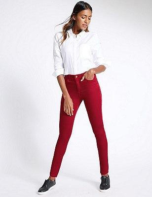 5 Pocket Super Skinny Jeans, RED, catlanding