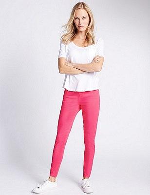 5 Pocket Super Skinny Jeans, RASPBERRY, catlanding