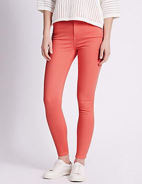 5 Pocket Super Skinny Jeans, BRIGHT CORAL, catlanding