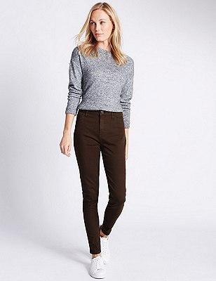 5 Pocket Super Skinny Jeans, CHOCOLATE, catlanding