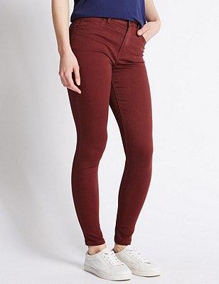 5 Pocket Super Skinny Jeans, CLARET, catlanding
