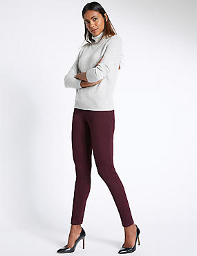 5 Pocket Super Skinny Jeans, BURGUNDY, catlanding