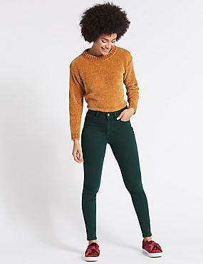 Mid Rise Super Skinny Jeans, PEACOCK, catlanding