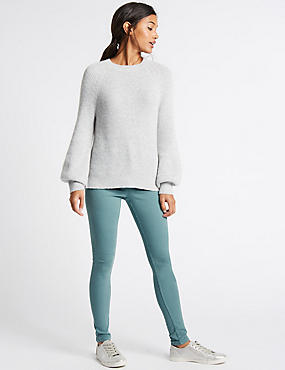 Mid Rise Super Skinny Jeans, SMOKEY GREEN, catlanding