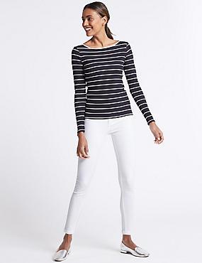 Mid Rise Super Skinny Jeans, WHITE MIX, catlanding