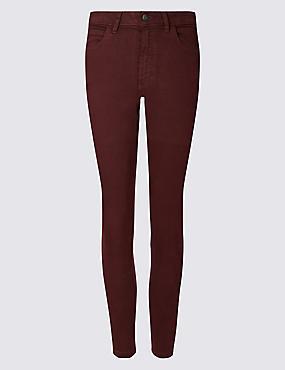 Mid Rise Super Skinny Jeans, BURGUNDY, catlanding